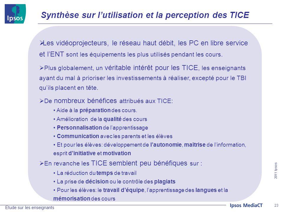 2011 Ipsos Etude sur les enseignants 23 Synthèse sur lutilisation et la perception des TICE Les vidéoprojecteurs, le réseau haut débit, les PC en libre service et lENT sont les équipements les plus utilisés pendant les cours.