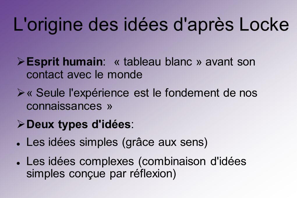L origine des idées d après Locke Esprit humain: « tableau blanc » avant son contact avec le monde « Seule l expérience est le fondement de nos connaissances » Deux types d idées: Les idées simples (grâce aux sens) Les idées complexes (combinaison d idées simples conçue par réflexion)