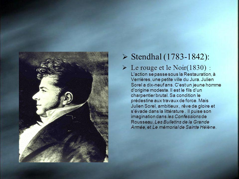Stendhal (1783-1842): Le rouge et le Noir(1830) : L action se passe sous la Restauration, à Verrières, une petite ville du Jura.