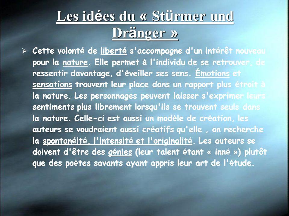 Les id é es du « St ü rmer und Dr ä nger » Cette volont é de libert é s accompagne d un int é rêt nouveau pour la nature.