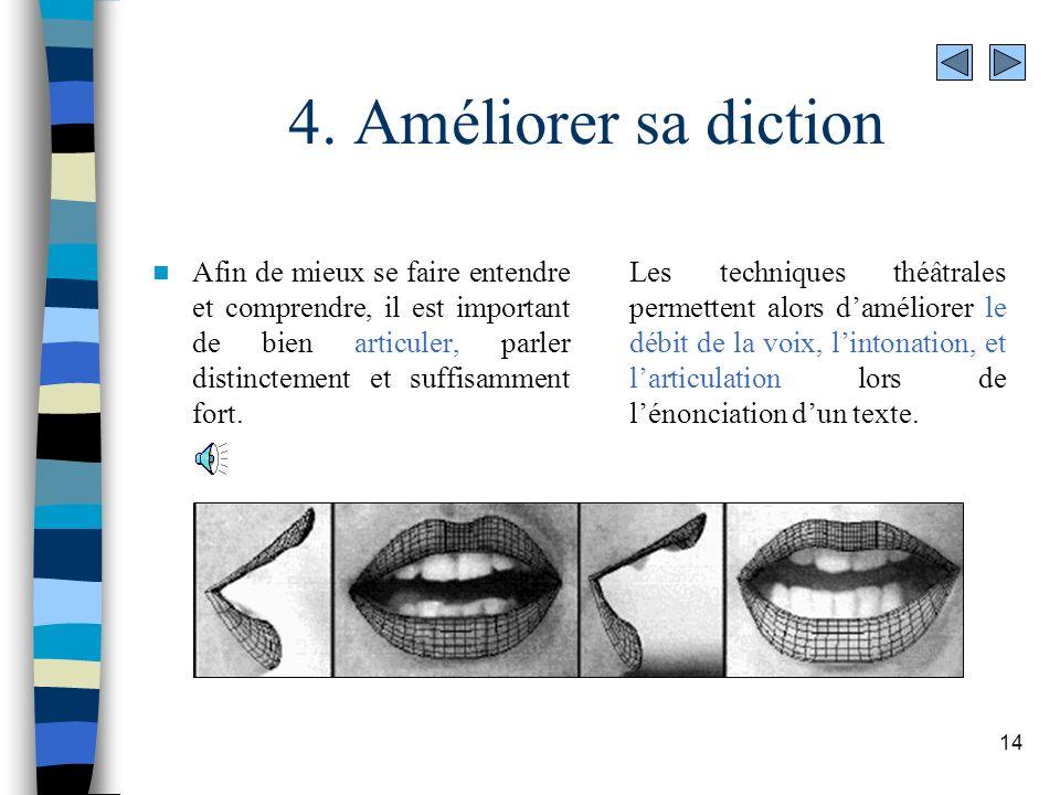 14 4. Améliorer sa diction Afin de mieux se faire entendre et comprendre, il est important de bien articuler, parler distinctement et suffisamment for