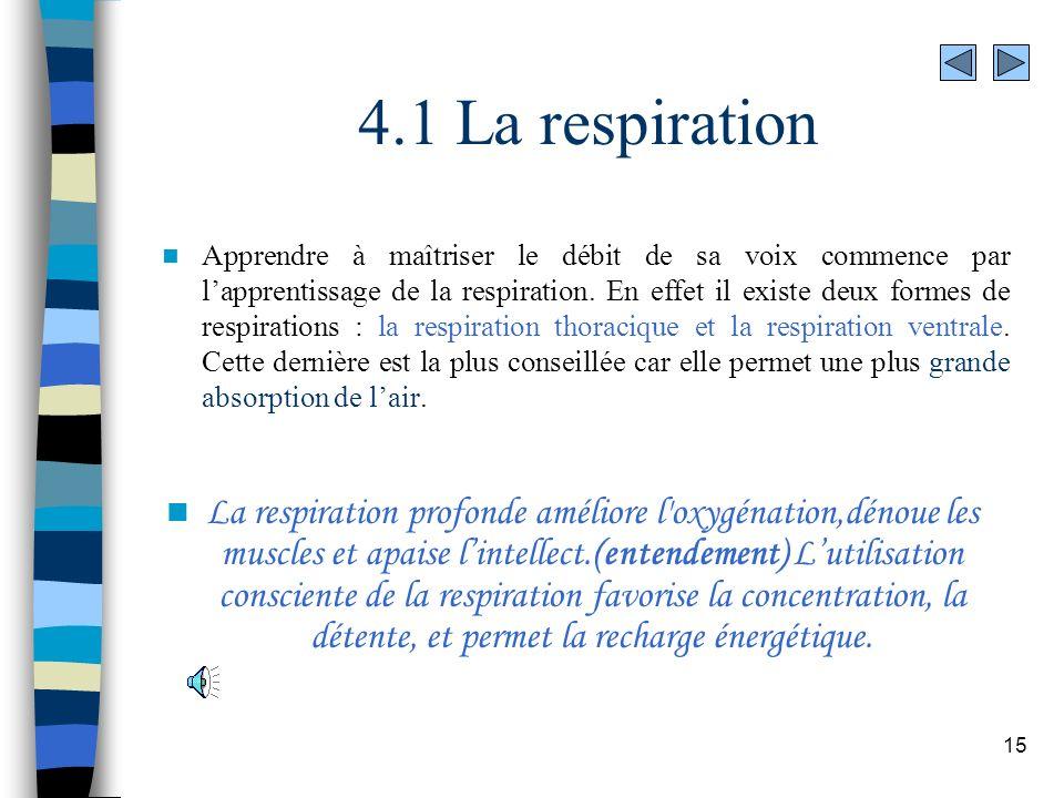 15 4.1 La respiration Apprendre à maîtriser le débit de sa voix commence par lapprentissage de la respiration. En effet il existe deux formes de respi