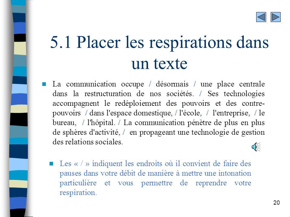 20 5.1 Placer les respirations dans un texte La communication occupe / désormais / une place centrale dans la restructuration de nos sociétés. / Ses t