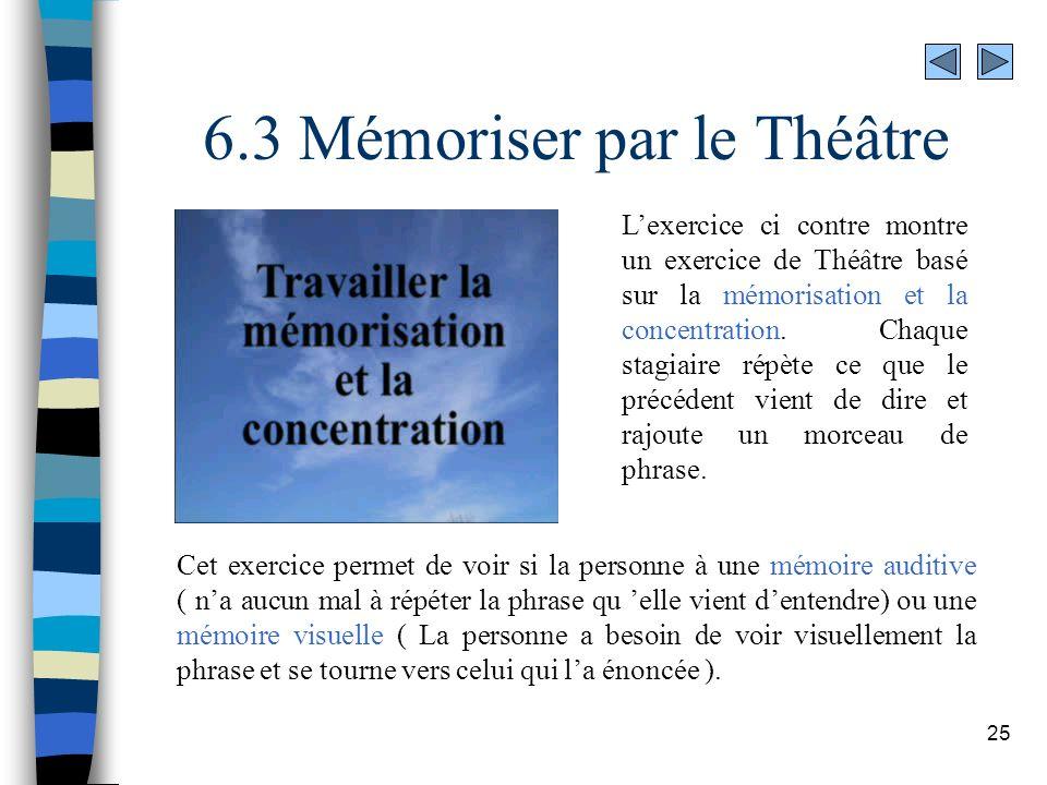 25 6.3 Mémoriser par le Théâtre Lexercice ci contre montre un exercice de Théâtre basé sur la mémorisation et la concentration. Chaque stagiaire répèt