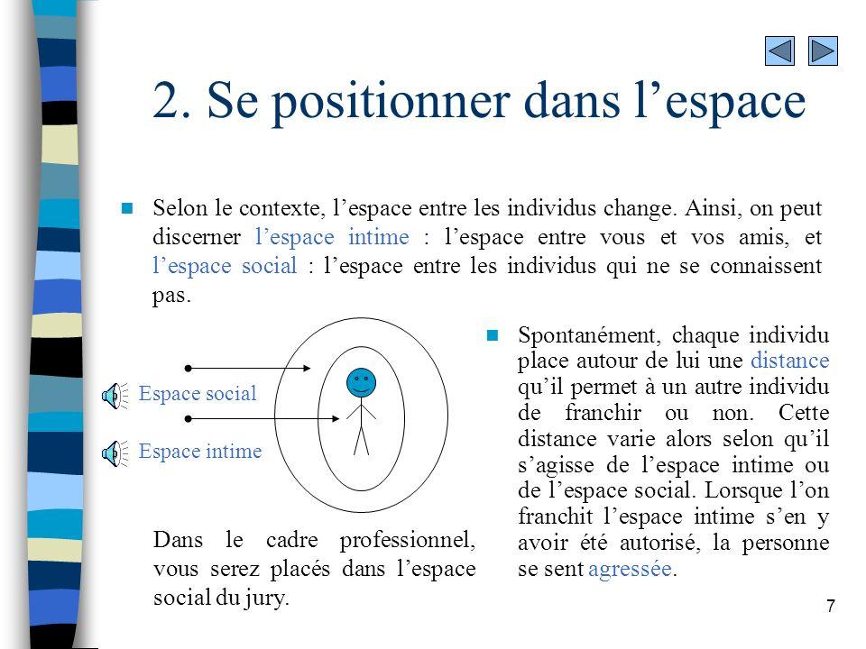 7 2. Se positionner dans lespace Selon le contexte, lespace entre les individus change. Ainsi, on peut discerner lespace intime : lespace entre vous e