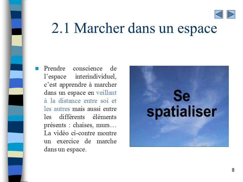 8 2.1 Marcher dans un espace Prendre conscience de lespace interindividuel, cest apprendre à marcher dans un espace en veillant à la distance entre so