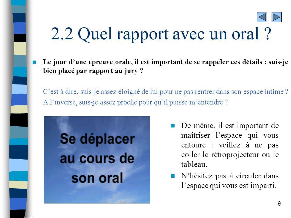 9 2.2 Quel rapport avec un oral ? Le jour dune épreuve orale, il est important de se rappeler ces détails : suis-je bien placé par rapport au jury ? C