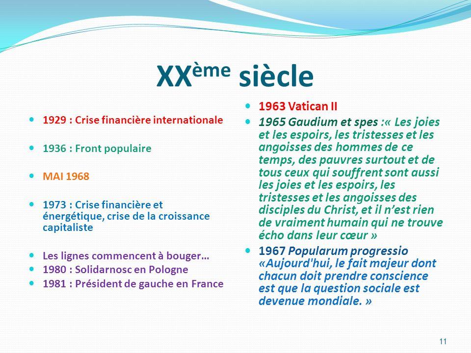 XX ème siècle 1929 : Crise financière internationale 1936 : Front populaire MAI 1968 1973 : Crise financière et énergétique, crise de la croissance ca