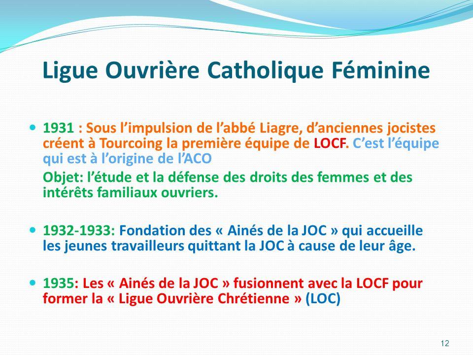Ligue Ouvrière Catholique Féminine 1931 : Sous limpulsion de labbé Liagre, danciennes jocistes créent à Tourcoing la première équipe de LOCF. Cest léq