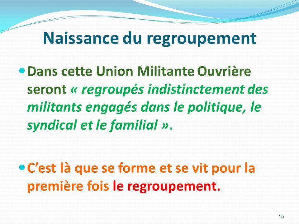 Naissance du regroupement Dans cette Union Militante Ouvrière seront « regroupés indistinctement des militants engagés dans le politique, le syndical