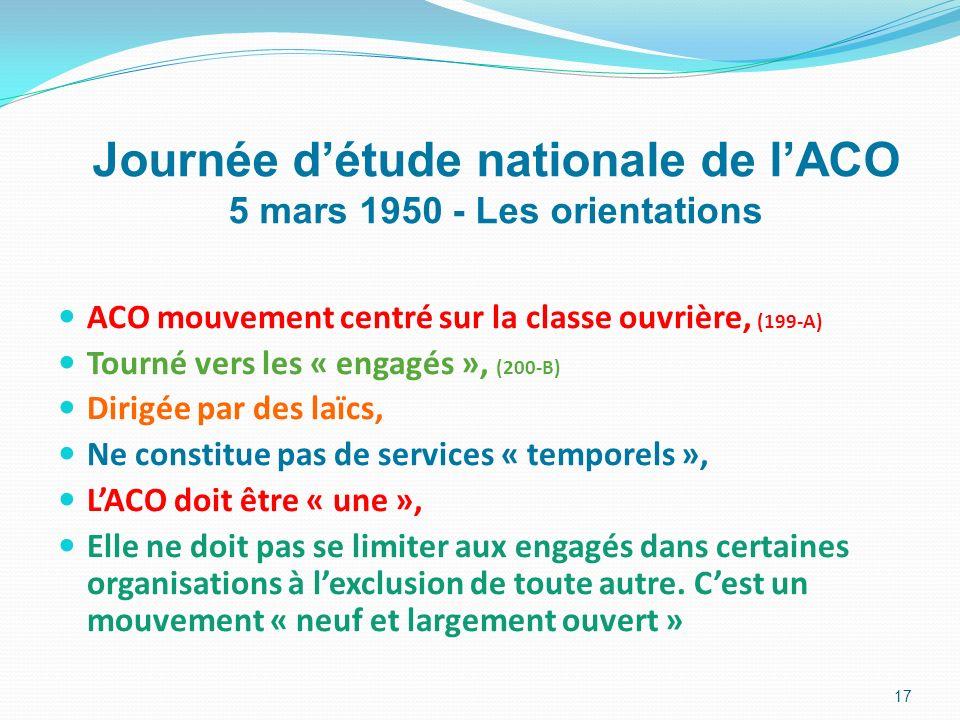ACO mouvement centré sur la classe ouvrière, (199-A) Tourné vers les « engagés », (200-B) Dirigée par des laïcs, Ne constitue pas de services « tempor