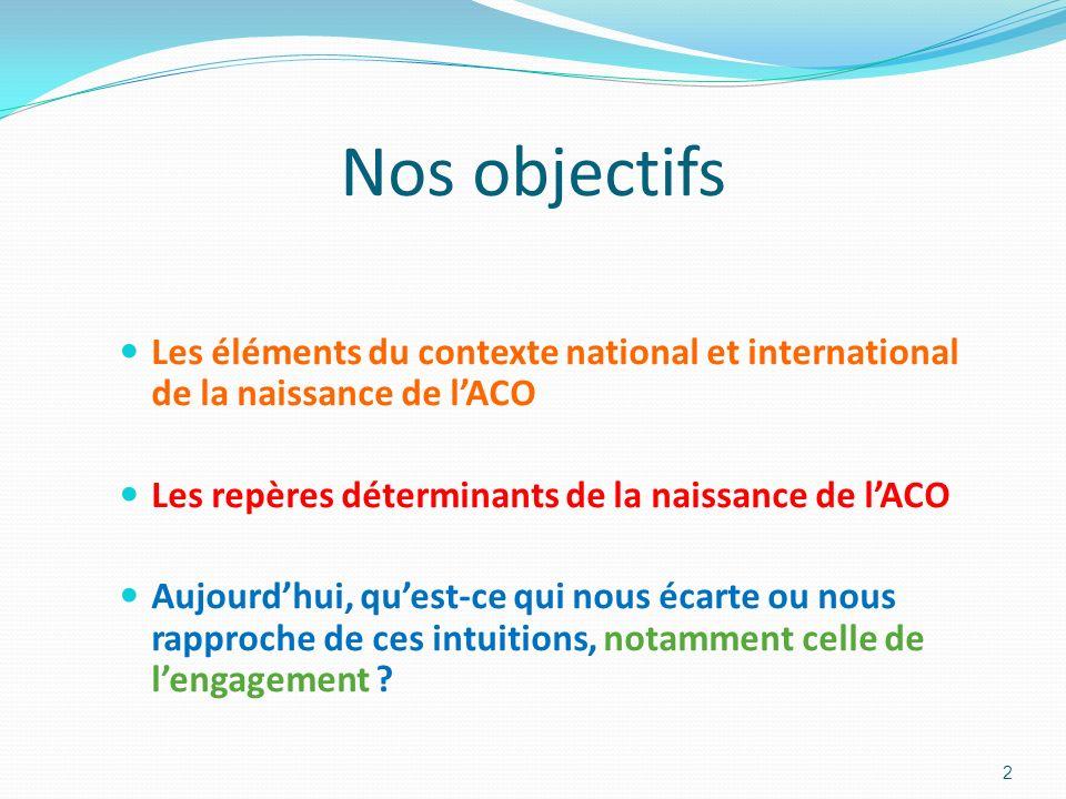 Nos objectifs Les éléments du contexte national et international de la naissance de lACO Les repères déterminants de la naissance de lACO Aujourdhui,