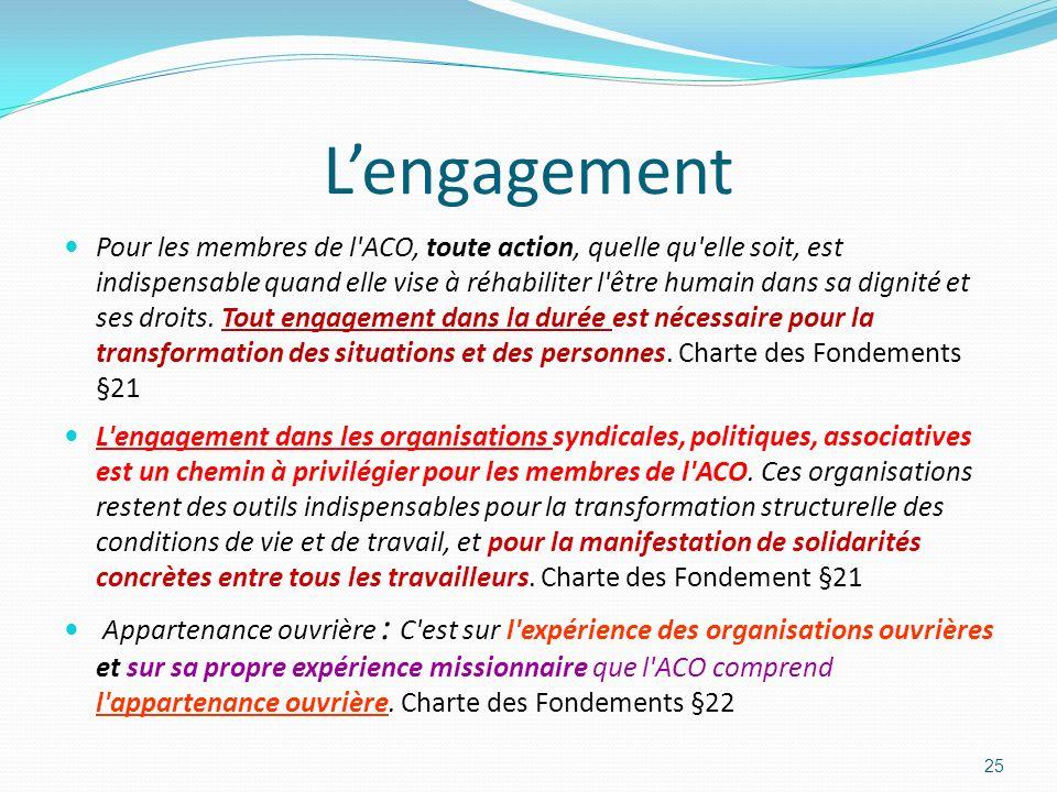 Lengagement Pour les membres de l'ACO, toute action, quelle qu'elle soit, est indispensable quand elle vise à réhabiliter l'être humain dans sa dignit