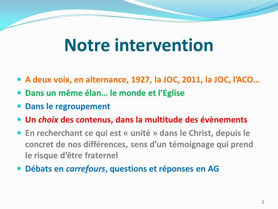 Notre intervention A deux voix, en alternance, 1927, la JOC, 2011, la JOC, lACO… Dans un même élan… le monde et lEglise Dans le regroupement Un choix