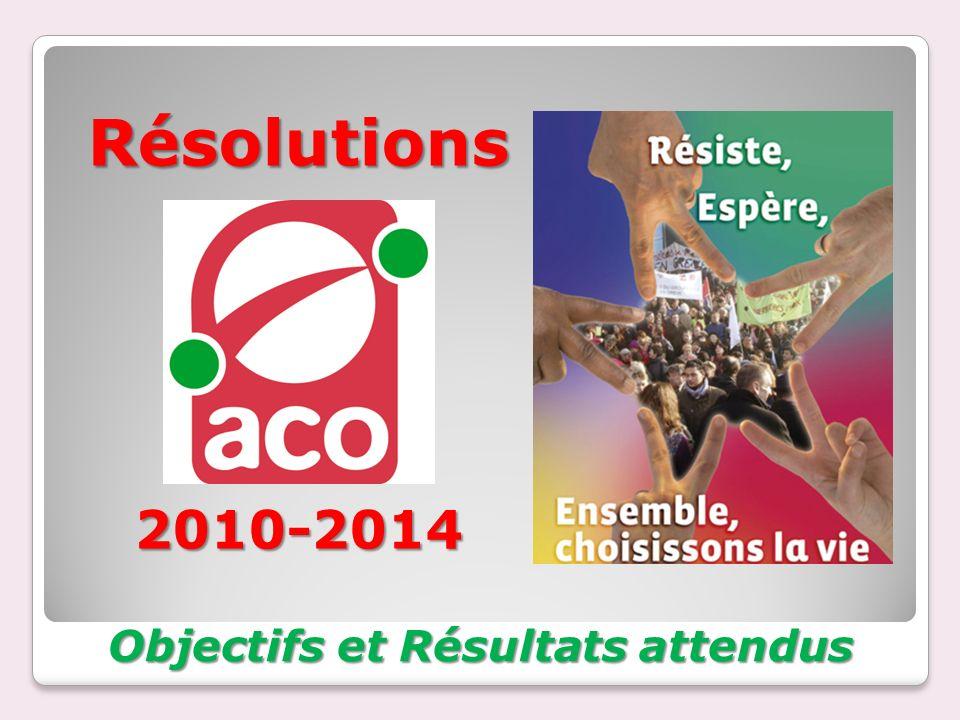 Résolutions 2010-2014 Objectifs et Résultats attendus