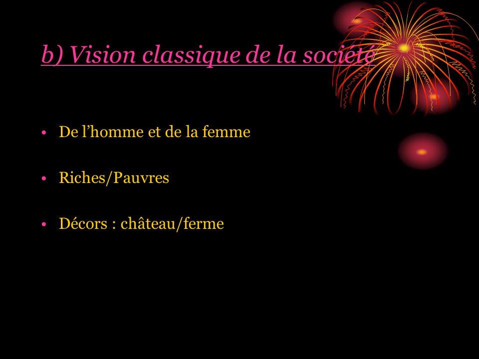 b) Vision classique de la société De lhomme et de la femme Riches/Pauvres Décors : château/ferme