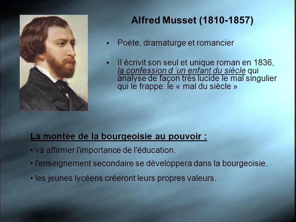 Alfred Musset (1810-1857) Poète, dramaturge et romancier Il écrivit son seul et unique roman en 1836, la confession d un enfant du siècle qui analyse