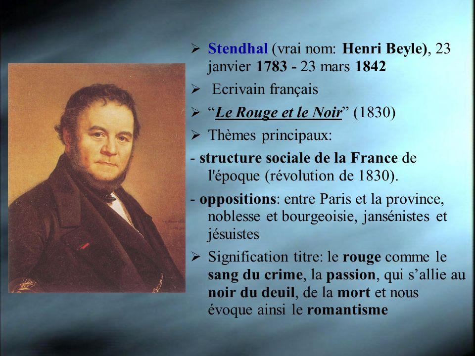 Stendhal (vrai nom: Henri Beyle), 23 janvier 1783 - 23 mars 1842 Ecrivain français Le Rouge et le Noir (1830) Thèmes principaux: - structure sociale d