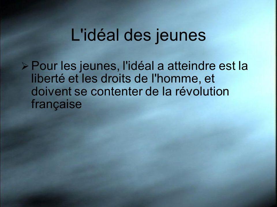 L idéal des jeunes Pour les jeunes, l idéal a atteindre est la liberté et les droits de l homme, et doivent se contenter de la révolution française