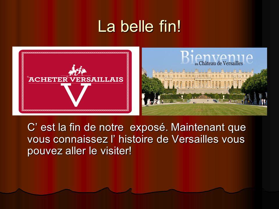La belle fin! C est la fin de notre exposé. Maintenant que vous connaissez l histoire de Versailles vous pouvez aller le visiter!
