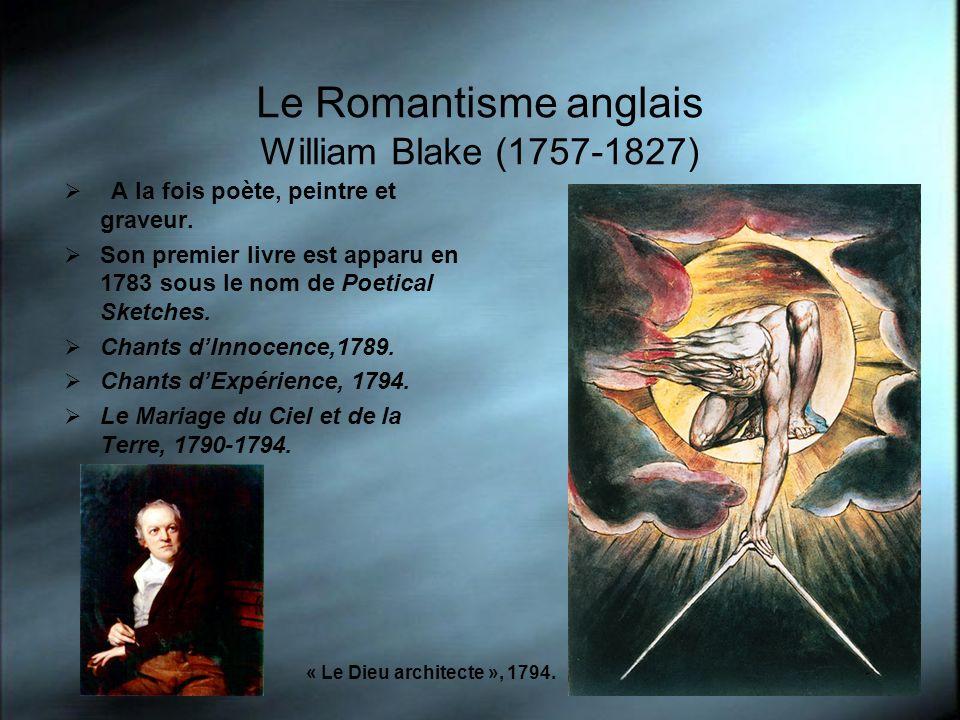 Le Romantisme anglais William Blake (1757-1827) A la fois poète, peintre et graveur. Son premier livre est apparu en 1783 sous le nom de Poetical Sket