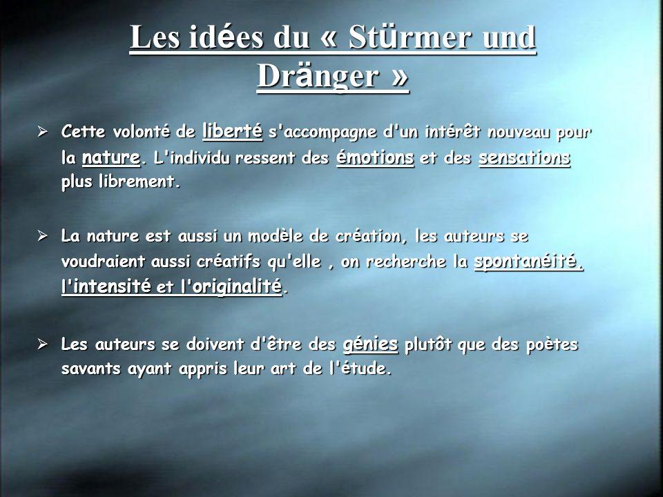 Les id é es du « St ü rmer und Dr ä nger » Cette volont é de libert é s'accompagne d'un int é rêt nouveau pour la nature. L'individu ressent des é mot