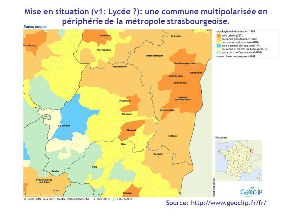 Source: http://www.geoclip.fr/fr/ Mise en situation (v1: Lycée ?): une commune multipolarisée en périphérie de la métropole strasbourgeoise.