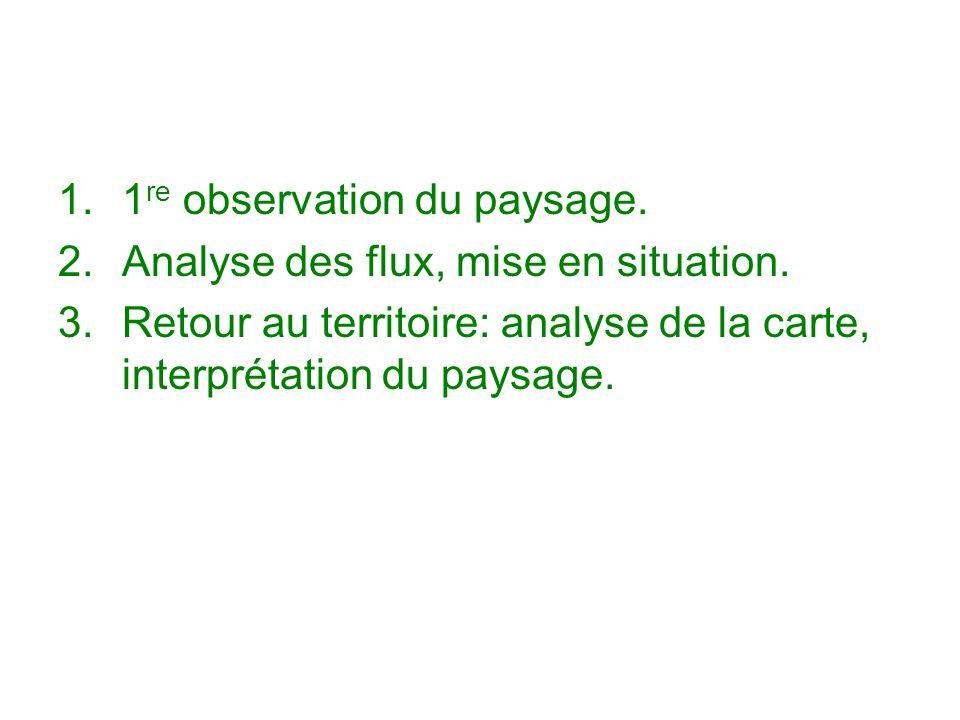 1.1 re observation du paysage. 2.Analyse des flux, mise en situation. 3.Retour au territoire: analyse de la carte, interprétation du paysage.