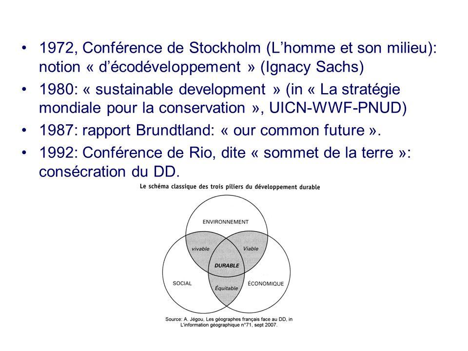 1972, Conférence de Stockholm (Lhomme et son milieu): notion « décodéveloppement » (Ignacy Sachs) 1980: « sustainable development » (in « La stratégie