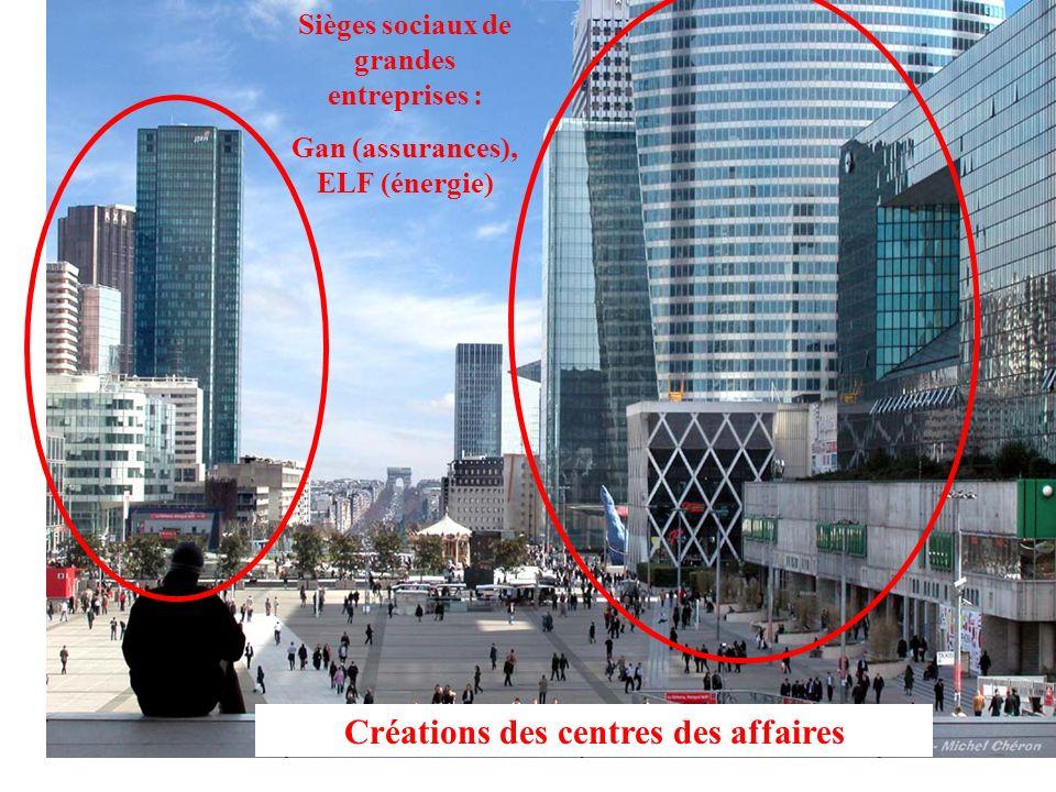 Sièges sociaux de grandes entreprises : Gan (assurances), ELF (énergie) Créations des centres des affaires