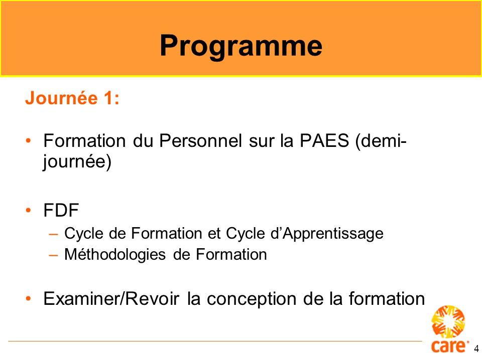 4 Programme Journée 1: Formation du Personnel sur la PAES (demi- journée) FDF –Cycle de Formation et Cycle dApprentissage –Méthodologies de Formation Examiner/Revoir la conception de la formation