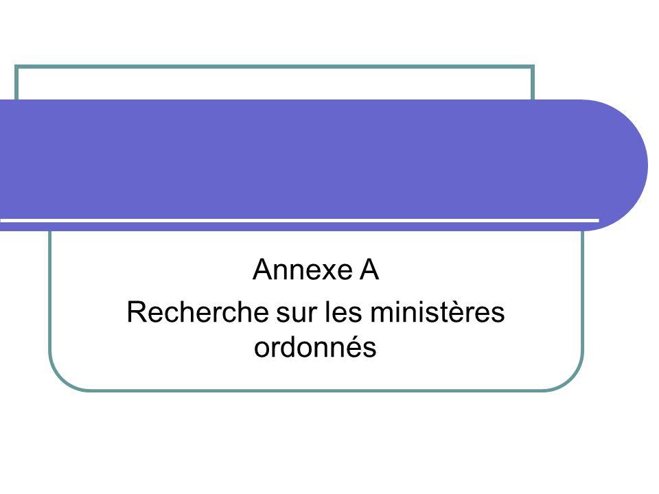 Annexe A Recherche sur les ministères ordonnés