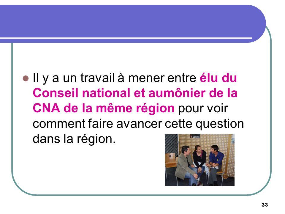 33 Il y a un travail à mener entre élu du Conseil national et aumônier de la CNA de la même région pour voir comment faire avancer cette question dans la région.