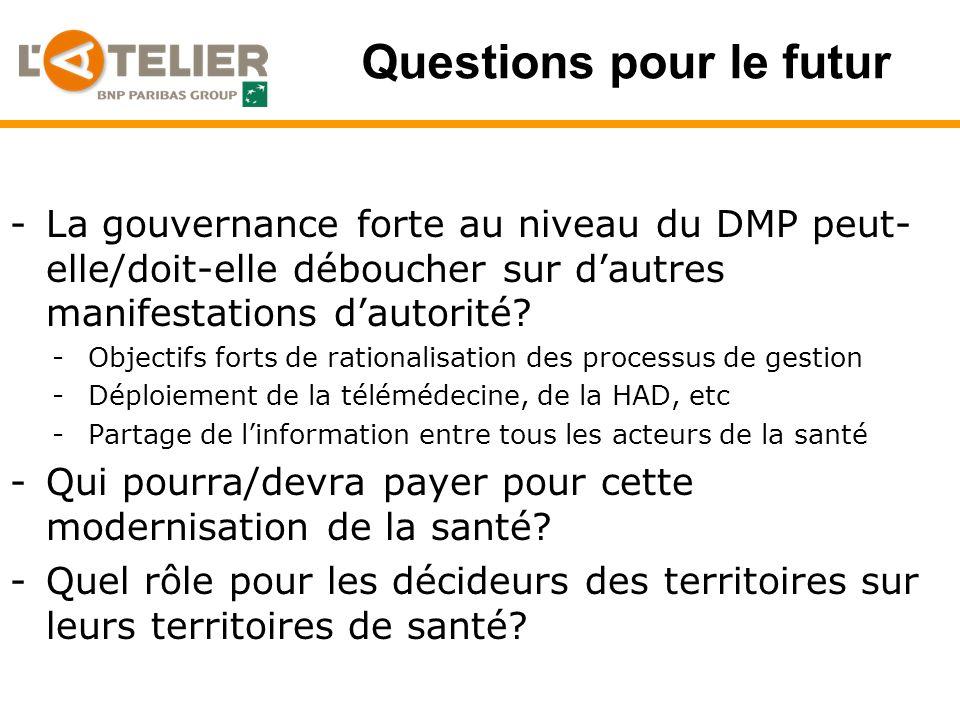 Questions pour le futur -La gouvernance forte au niveau du DMP peut- elle/doit-elle déboucher sur dautres manifestations dautorité.