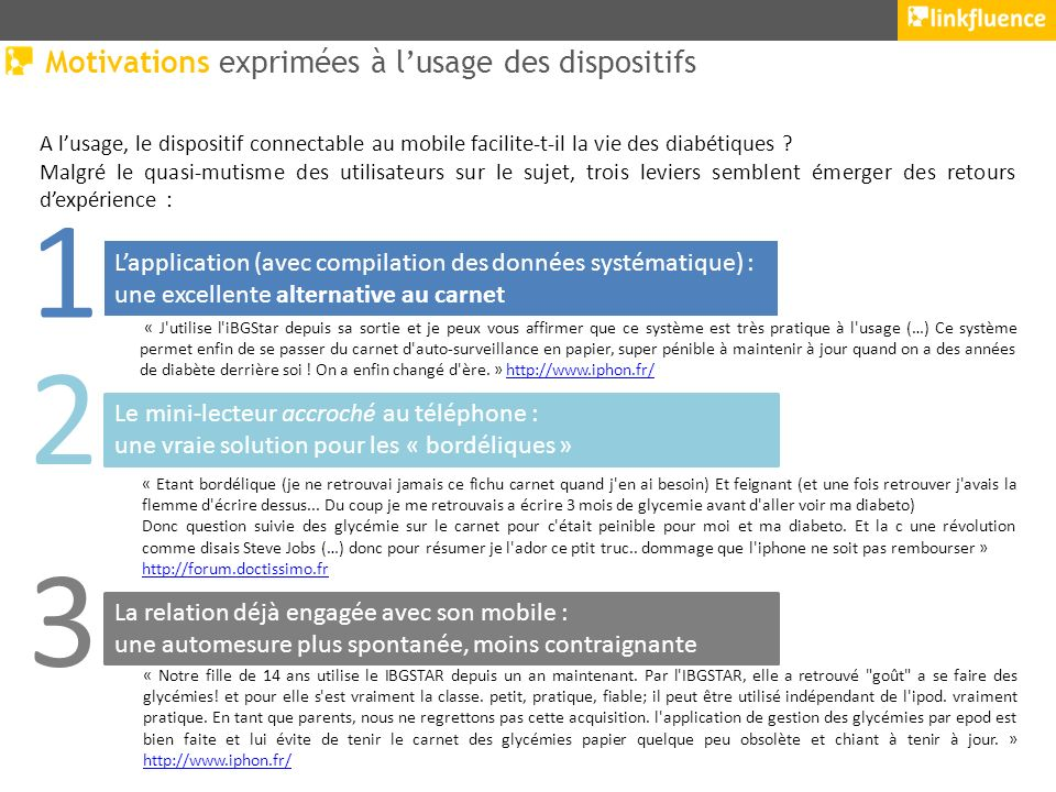 Motivations exprimées à lusage des dispositifs A lusage, le dispositif connectable au mobile facilite-t-il la vie des diabétiques .