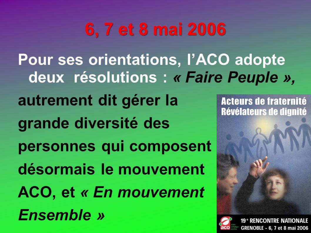 6, 7 et 8 mai 2006 Pour ses orientations, lACO adopte deux résolutions : « Faire Peuple », autrement dit gérer la grande diversité des personnes qui c