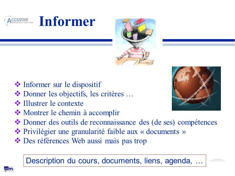 Informer Informer sur le dispositif Donner les objectifs, les critères … Illustrer le contexte Montrer le chemin à accomplir Donner des outils de reco
