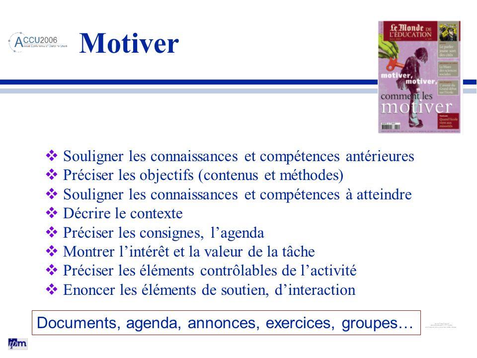 Souligner les connaissances et compétences antérieures Préciser les objectifs (contenus et méthodes) Souligner les connaissances et compétences à atte