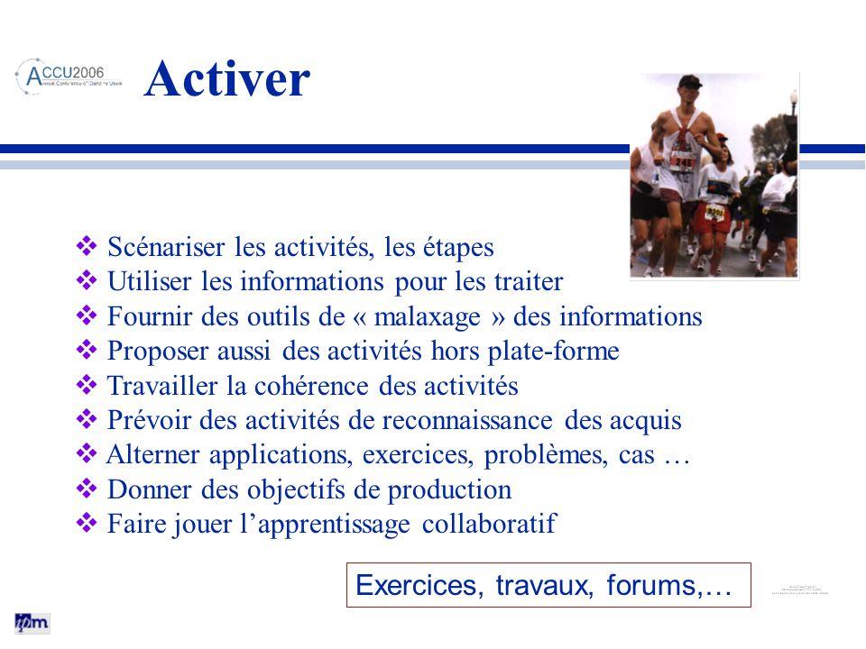 Activer Scénariser les activités, les étapes Utiliser les informations pour les traiter Fournir des outils de « malaxage » des informations Proposer a