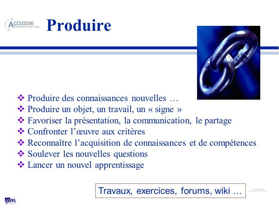 Produire Produire des connaissances nouvelles … Produire un objet, un travail, un « signe » Favoriser la présentation, la communication, le partage Co
