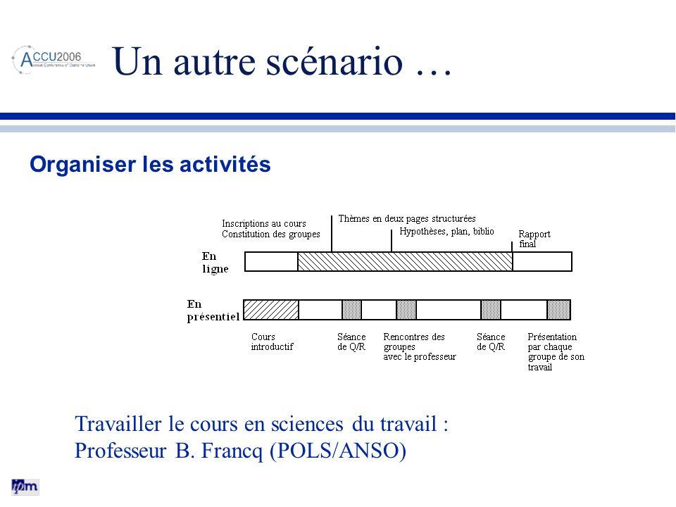 Un autre scénario … Organiser les activités Travailler le cours en sciences du travail : Professeur B. Francq (POLS/ANSO)