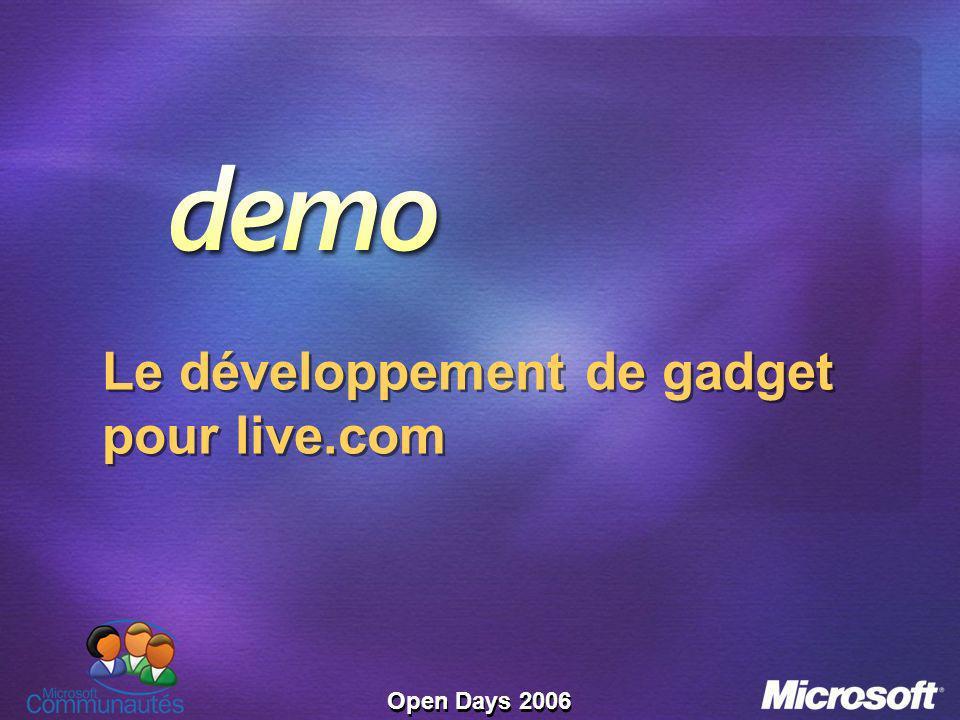 Open Days 2006 Le développement de gadget pour live.com