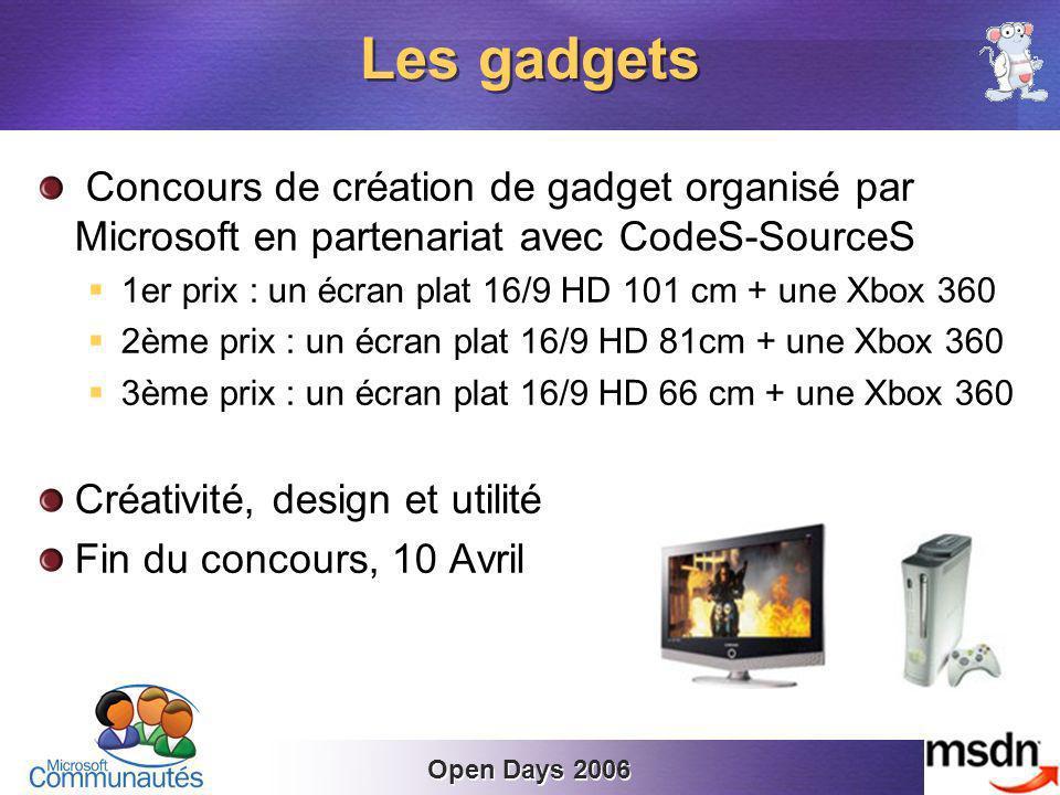 Open Days 2006 Concours de création de gadget organisé par Microsoft en partenariat avec CodeS-SourceS 1er prix : un écran plat 16/9 HD 101 cm + une Xbox 360 2ème prix : un écran plat 16/9 HD 81cm + une Xbox 360 3ème prix : un écran plat 16/9 HD 66 cm + une Xbox 360 Créativité, design et utilité Fin du concours, 10 Avril Les gadgets