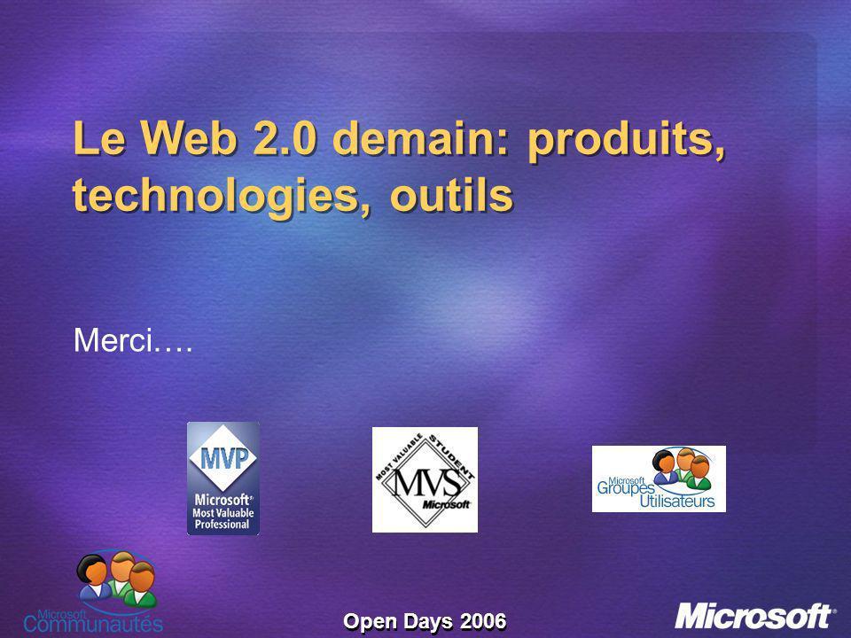 Open Days 2006 Le Web 2.0 demain: produits, technologies, outils Merci….