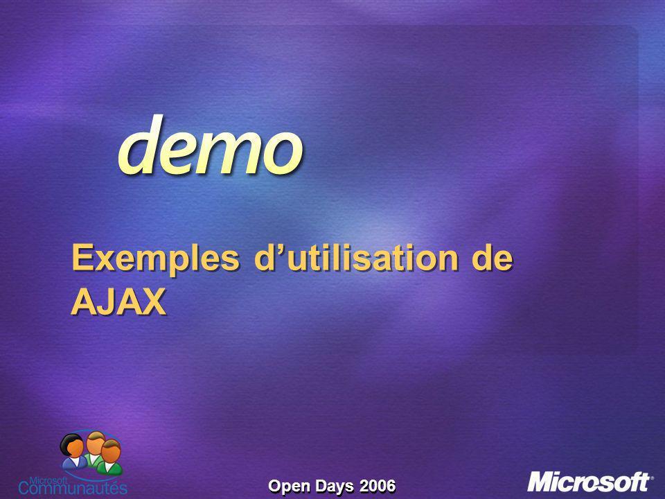 Open Days 2006 Exemples dutilisation de AJAX