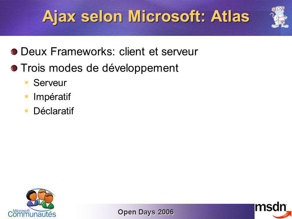 Open Days 2006 Deux Frameworks: client et serveur Trois modes de développement Serveur Impératif Déclaratif Ajax selon Microsoft: Atlas