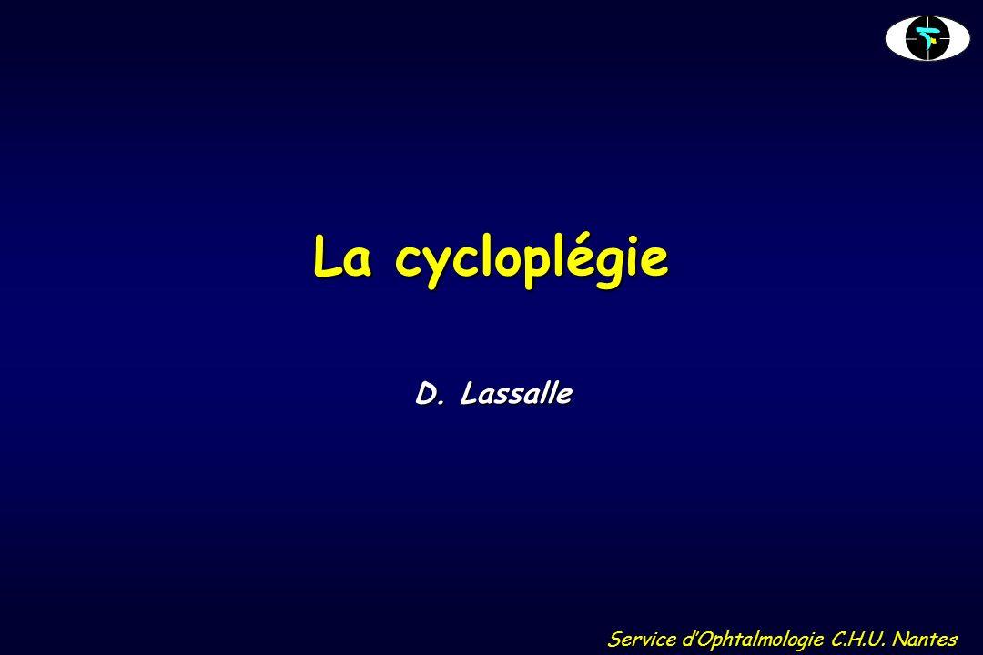 Service dOphtalmologie C.H.U. Nantes La cycloplégie D. Lassalle