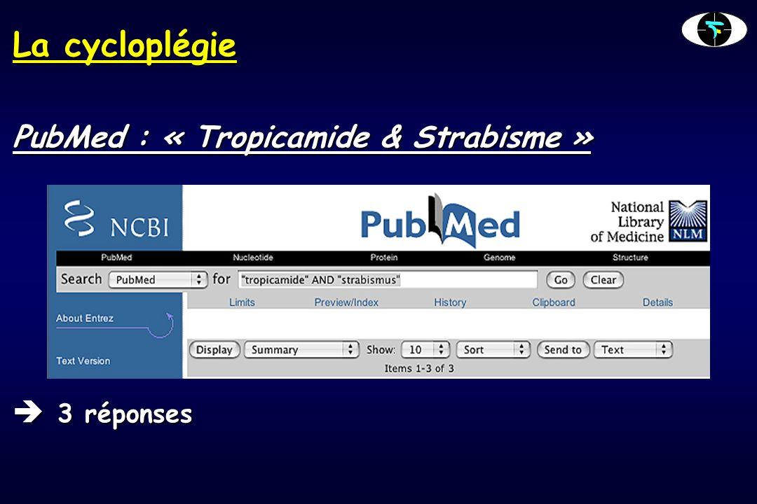 La cycloplégie PubMed : « Tropicamide & Strabisme » 3 réponses 3 réponses