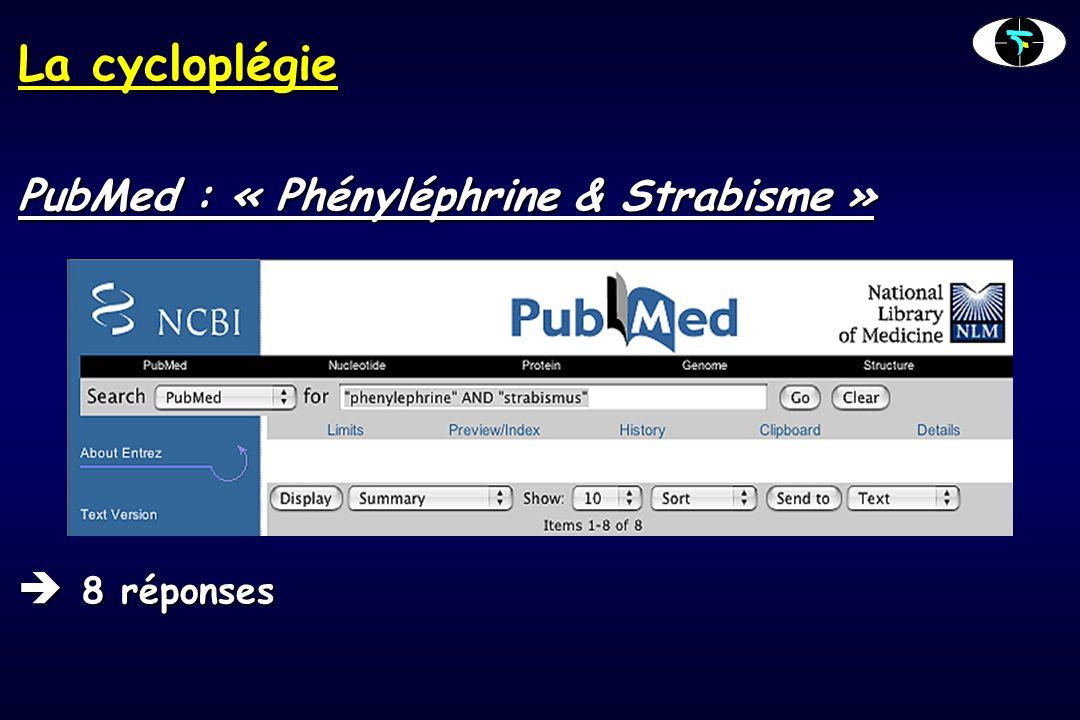 La cycloplégie PubMed : « Phényléphrine & Strabisme » 8 réponses 8 réponses
