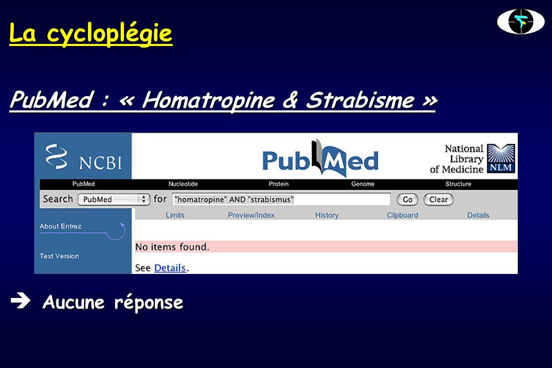 La cycloplégie PubMed : « Homatropine & Strabisme » Aucune réponse Aucune réponse